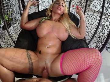 Kyra Hot is getting her insides widened with a shaved pole