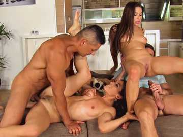 Eurobabe students Ally and Julia Roca fucking in a foursome