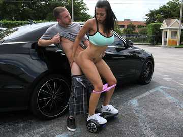 Slutty brunette lady Luna Star gets nailed in the parking lot