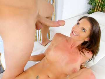 Busty brunette Silvia Saige gets a bit of facial after classic sexual intercourse