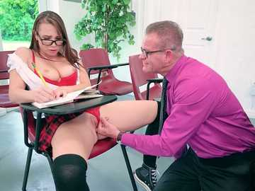 Teen brunette Aidra Fox seduces her teacher using her big tits in uniform