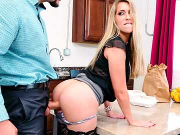 Superior trimmed pussy got stuffed in the kitchen by Kimber Lee's husband