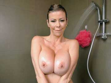 Bewitching MILF Alexis Fawx with perfect body shapes exposed in the shower room