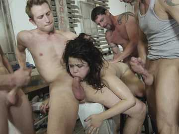 Desperate brunette Yhivi services a group of horny men in a rough sex orgy