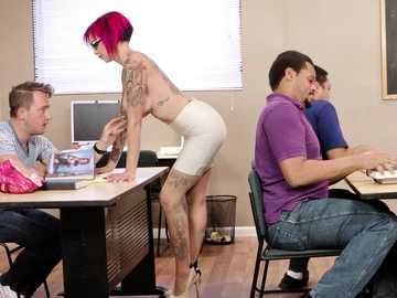 Punky teacher Anna Bell Peaks screws her students in her school fantasies